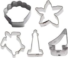 5 Piece Mini Ocean Nautical Cookie Cutter Set Dolphin Starfish Crab Whale