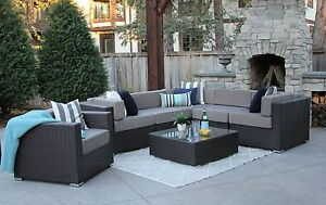 Details about 7PC Patio Set Modern Outdoor Sectional Sofa Furniture Rattan  Wicker Grant New