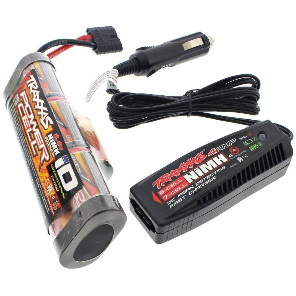 Traxxas 1 10 Stampede 2WD XL-5 8.4v 3000 mAh iD Hump Battery & 4 Amp Charger