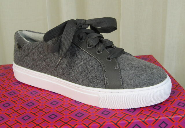 b24365ec78bbbd NIB TORY BURCH Marion Quilted Lace Up Sneakers Shoe Size 7.5 Dovestone Felt  Grey