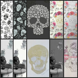 Details About Skull Wallpaper Gothic Dark Black Silver Goth Cool Black Feature Wall 10 Styles