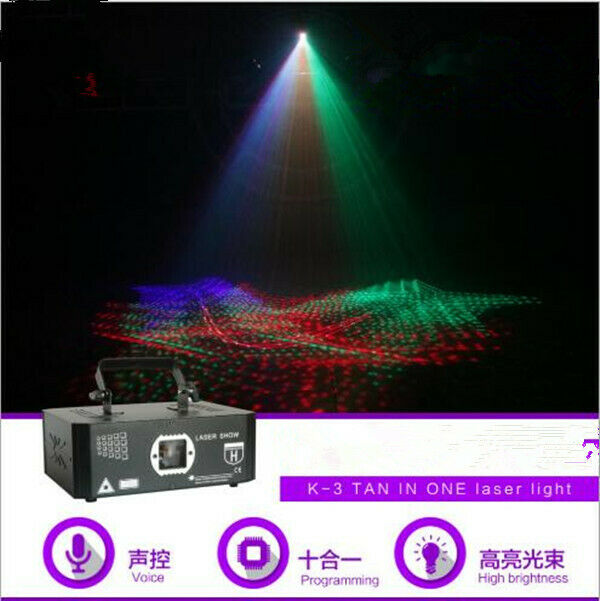 10 in1 RGB 3D laser effects stage light sound controlled home party lamps deco