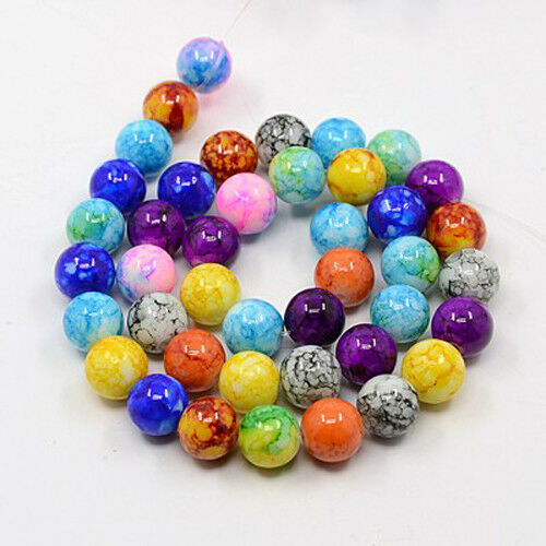 43 BULK Beads Round Glass Beads Assorted Lot Marbled Glass 10mm Beads