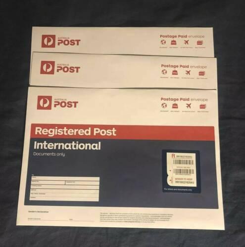 5x Brand New Australia Post Registered International B4 Envelopes-45/% RRP