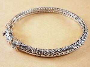 New-Bali-Tulang-Naga-Foxtail-Franco-Wheat-925-Sterling-Silver-Bracelet-7-75-034-33g