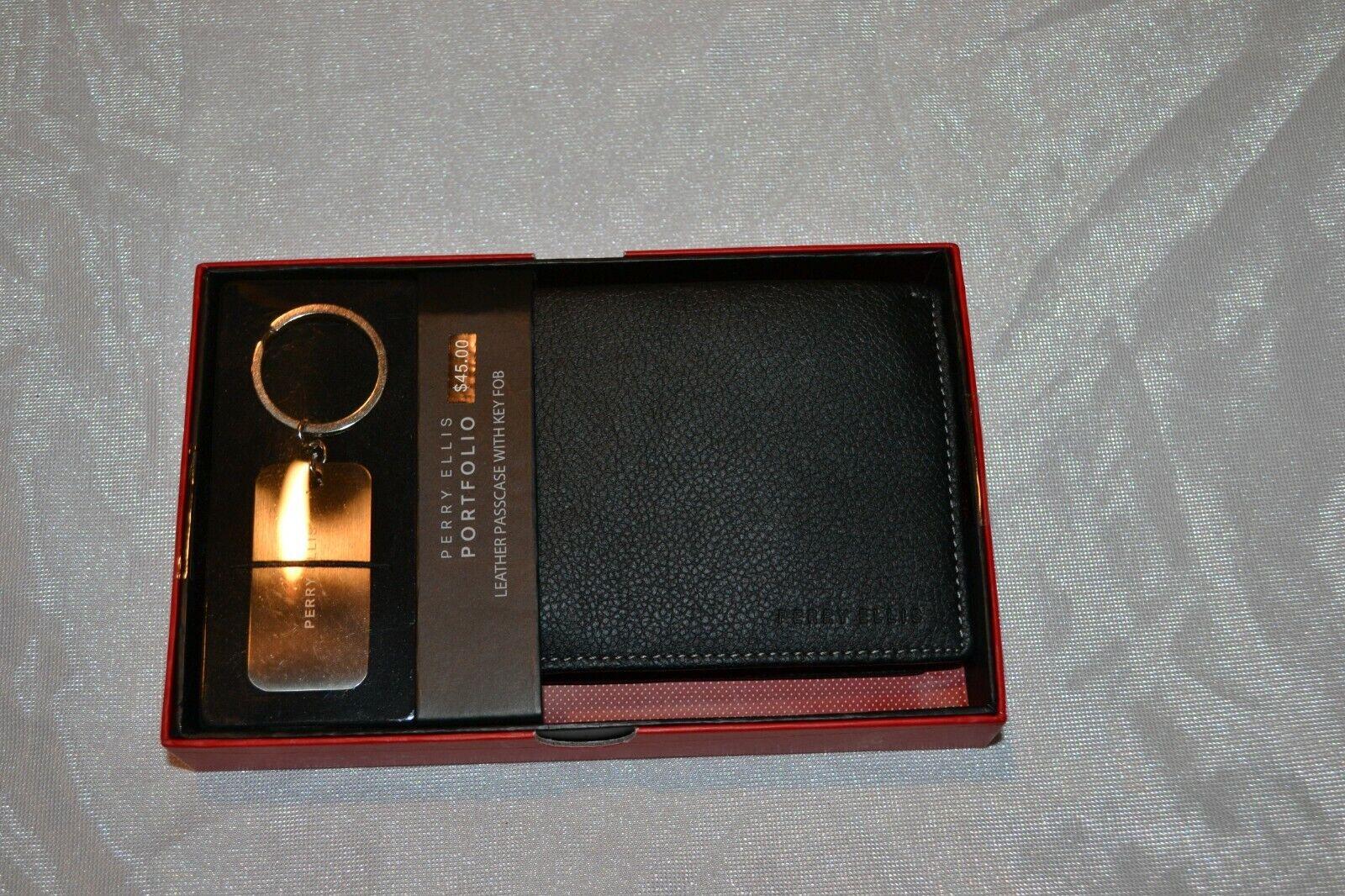 Perry Ellis Portfolio Men's Black Leather Passcase Wallet With Key Fob Set - NIB