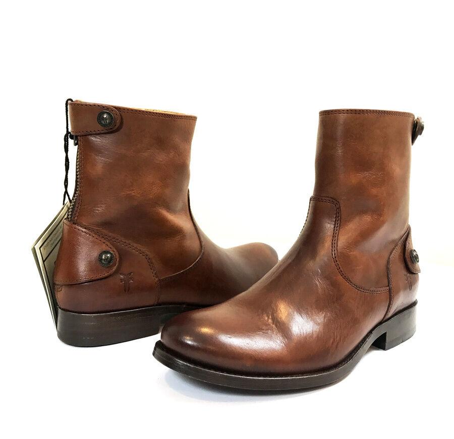 NIB, FRYE MELISSA MELISSA MELISSA WOMEN'S ZIP BUTTON SHORT BOOTS - COGNAC- SIZE  6M - MSRP   298 5fb9d8