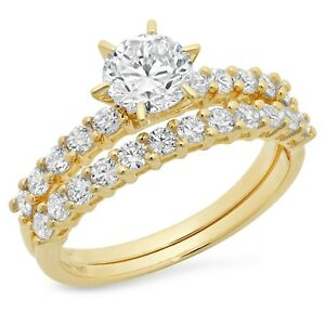 fc5322c6ab 3.0 ct Round Cut Bridal Engagement Wedding Ring Band Set 14k Solid ...