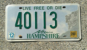 REAL NEW HAMPSHIRE STATE LICENSE PLATE AUTO CAR TAG # 40113 LIVE FREE OR DIE NH