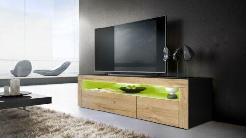 TV Board Lowboard Unterschrank Rack Valencia in Schwarz Hochglanz /& Naturtöne