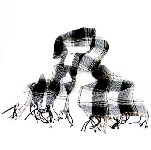 Tradizionale Inverno Sciarpa Controllato bianco e nero o marrone senape con frange