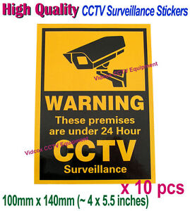 10pcs Cctv Security Camera Warning Stickers Signs For Shop