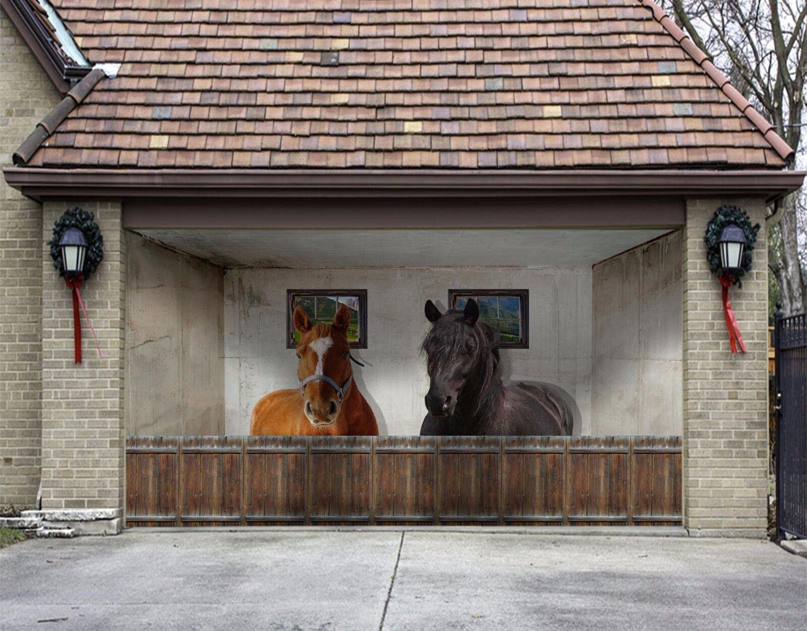3d Two Horses Garage Door Murals Wall Print Decal Wall Deco Aj Wallpaper A Ebay