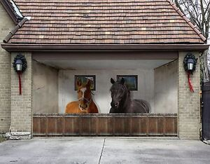 Genial Image Is Loading 3D Two Horses Garage Door Murals Wall Print