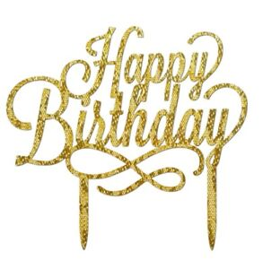 Details About HAPPY BIRTHDAY CAKE TOPPER GOLD GLITTERY LARGE ACRYLIC SIGN 16CMX11CM DECORATION