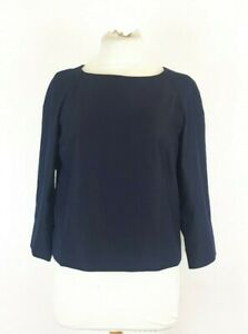 COS-Ladies-Navy-Blue-Pure-Wool-Boxy-Blouse-Top-Size-38-Lagenlook