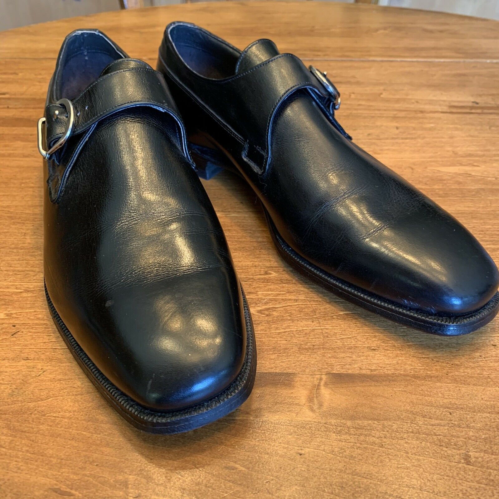 Mens New Johnston And Murphy Monk Strap Loafers In Black Size 9 1/2 D B