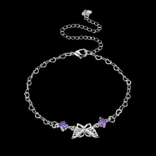 925Sterling Silver Fashion Jewelry Zircon Flower Woman Anklets Bracelet AY105