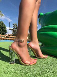 bdf28a6db82 Detalles de Shoe Republic Mazz con Tiras Grueso Bloque Grueso Talón  Sandalias de acrílico Lucite claro- ver título original