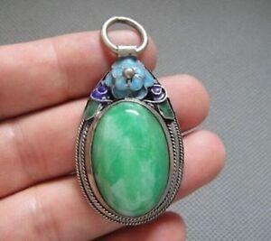 Rare-Antique-Chinese-Silver-Enamel-Mosaic-jade-Pendant-amp-1