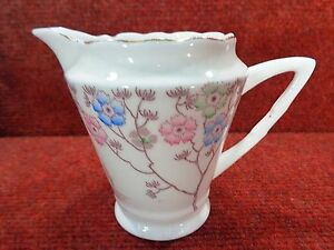 ROYAL-STAFFORD-Sprigs-Pink-Blue-Green-Flowers-CREAM-JUG-1940s-FREE-UK-POSTAGE