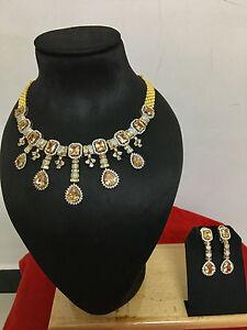 Bollywood-Indian-Gold-Plated-CZ-Wedding-Bridal-Fashion-Jewelry-Necklace-Set