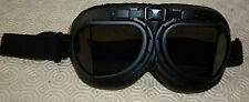 Motorcycle Bike  Aviator Pilot Style Helmet Goggles ROOFED BLACK LENS  CLASSIC