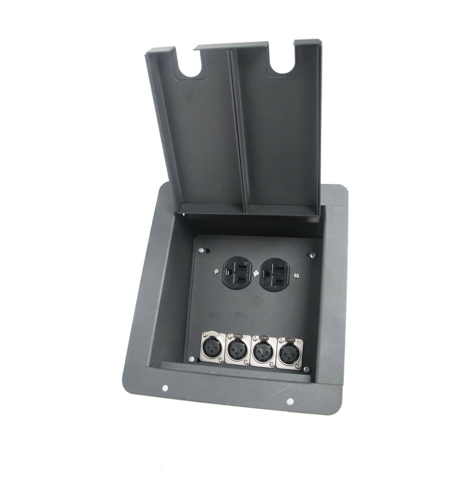 Elite Core Recessed Stage Floor Box w 4 XLR Female Mic Connectors & AC Outlets