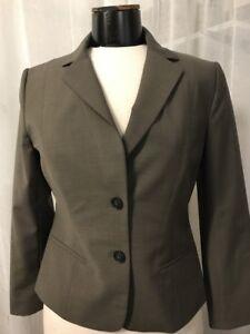 Ann-Taylor-Women-039-s-Blazer-2-Button-Fully-Lined-Brown-Wool-Blend-Size-4-Mint