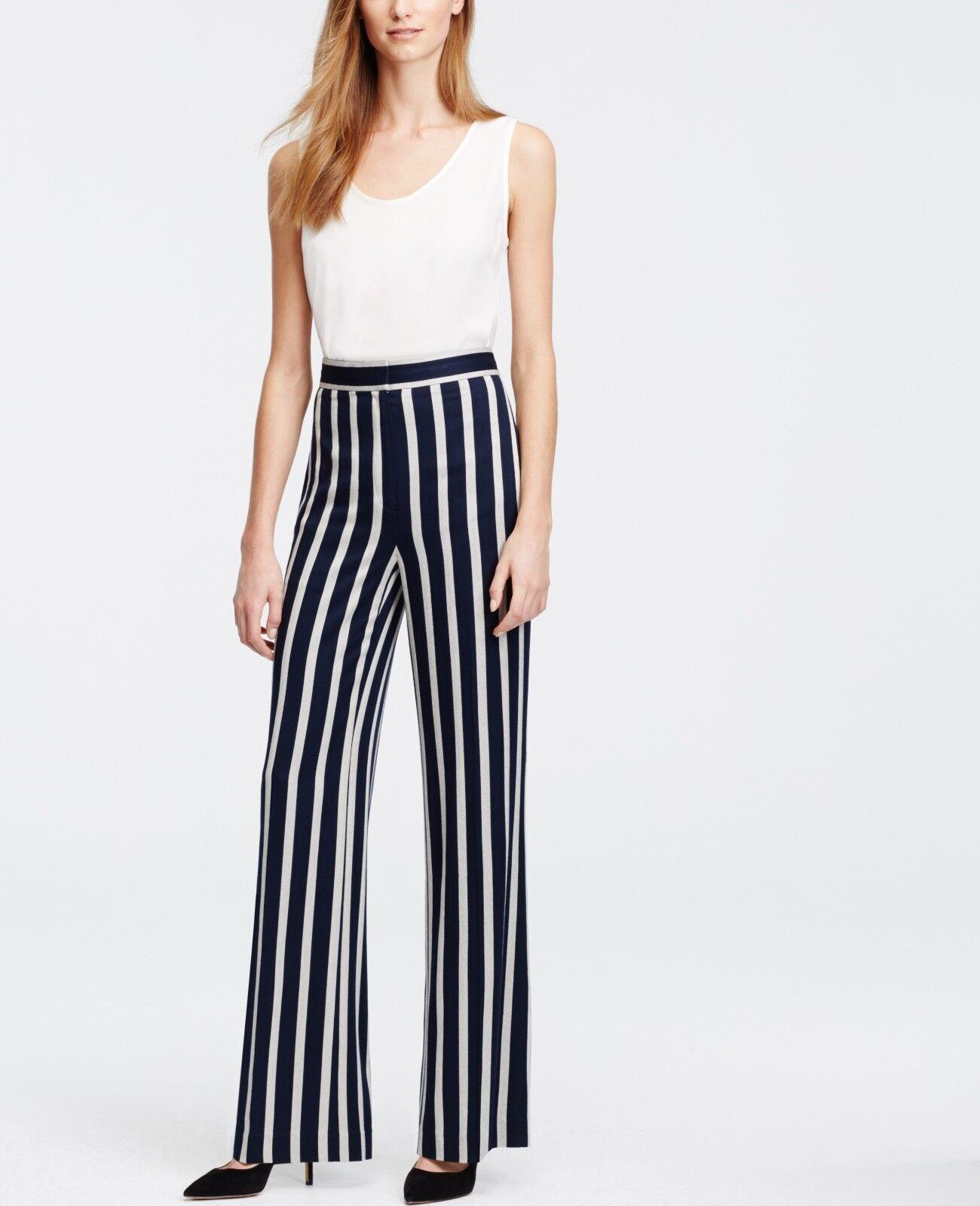 Ann Taylor Womens bluee Tall Fluid Stripe High Waist Flare Trousers 16T Tall Long