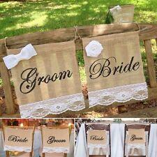 Linen Rustic Banner DIY Groom Bride Burlap Chair Signs Wedding Lace