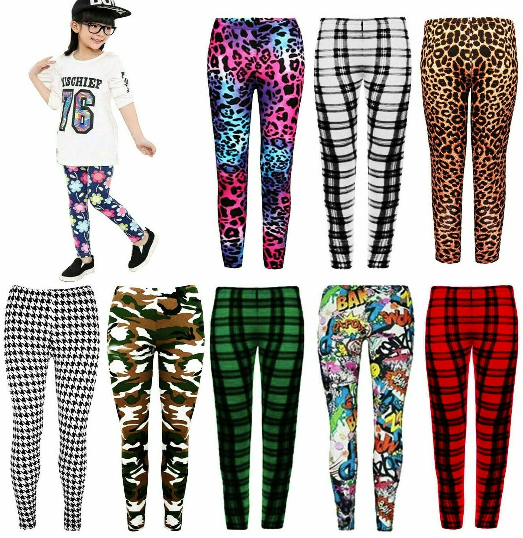 Girls Kids Check Tartan Camo Leopard Pattern Full Length Stretch Print Leggings