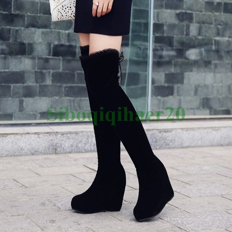 Winter Womens Over The Knee High Boots Wedge Heel Platform shoes Sexy Warm SIBO