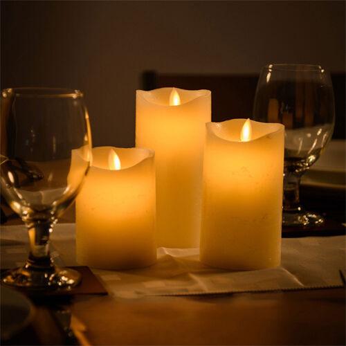 3 large wax led flickering candle lights dancing flameless decoration battery ebay. Black Bedroom Furniture Sets. Home Design Ideas