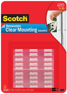 Scotch Removable Clear Mounting Squares Double Sided