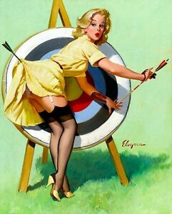 Image Is Loading 1950 039 S Pin Up Girl Art Archery