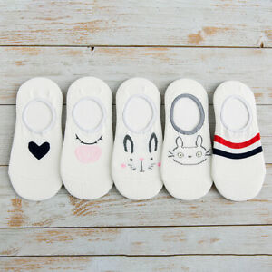 5-Pairs-Women-Invisible-Cotton-Boat-Socks-Nonslip-Loafer-No-Show-Low-Cut-Socks