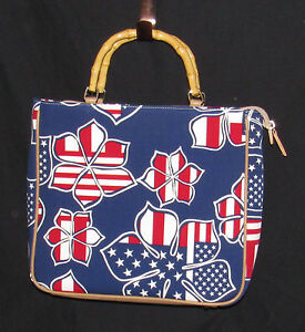 Red White Blue Purse Floral Bamboo Handle 4th Of July Memorial Day