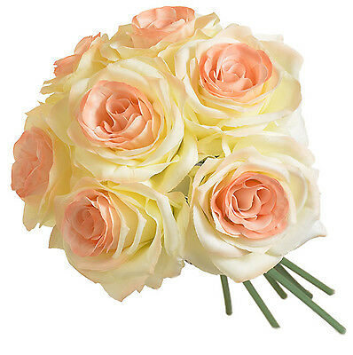 PEACH CREAM 7 Roses Bridal Bouquet Silk Wedding Flowers Centerpieces Bridesmaids