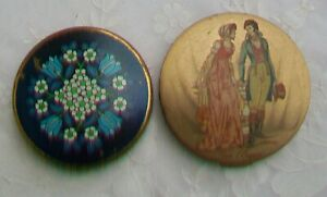 Vintage-Powder-Mirror-Compacts-Stratton-amp-Blue-Enamel-Flower