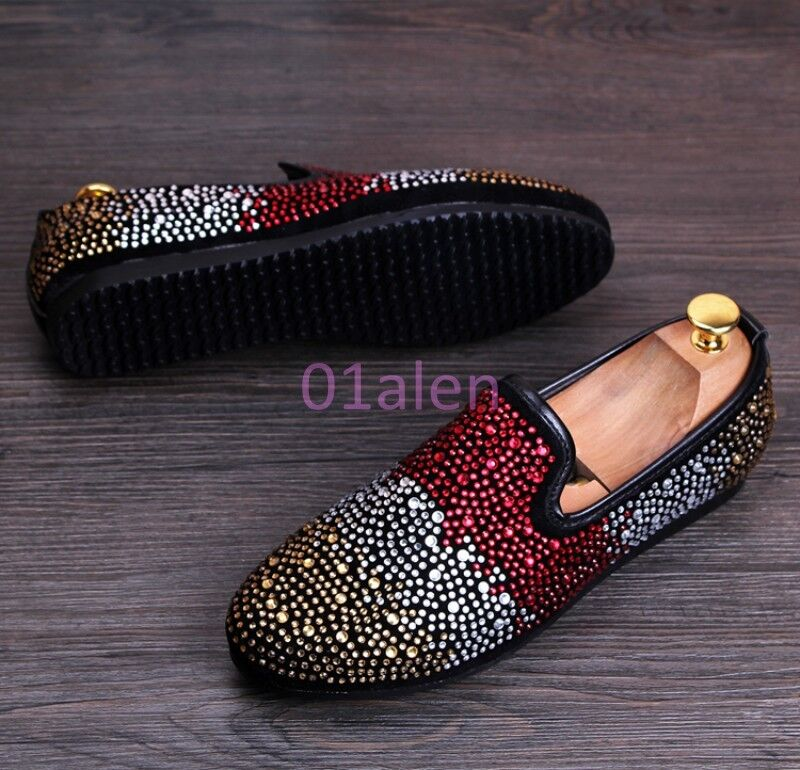 Uomo Slip On Bling Bling Glitter Rhinestones Loafer Wedding Shoes Color Assorted