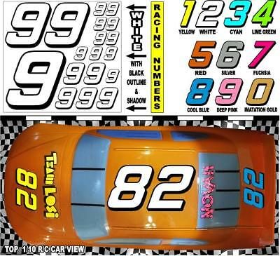 Racing Numbers Decal Sticker Sheet 1//8 /&1//10 RC models Red 3m REFLECTIVE #9/'s