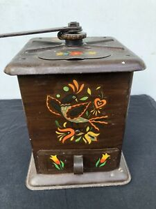 RARE-PRIMITIVE-COFFEE-GRINDER-HAND-MADE-TIN-FOLK-ART-PAINTED-BIRDS-AMERICANA