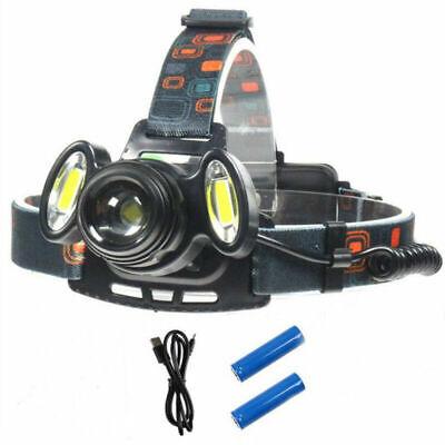 USB Rechargeable Bike Bicycle T6+COB LED Headlamp Zoomable Head Light Flashlight