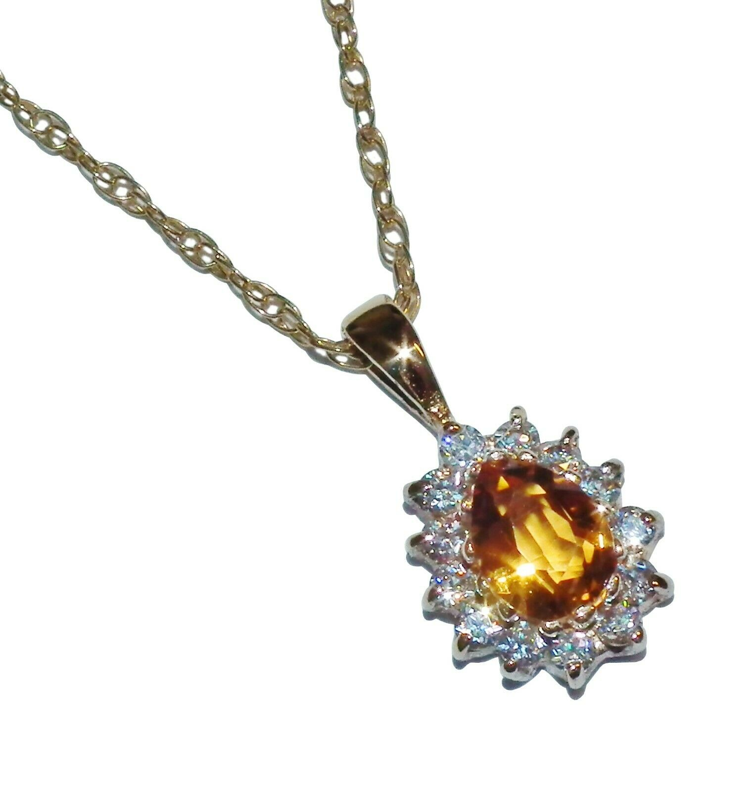 9ct Yellow gold, orange & White Cubic Zirconia Pear Cluster Pendant & 18  Chain