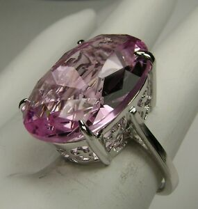 24ct-Big-Pink-Topaz-Sterling-Silver-925-Filigree-Ring-Made-To-Order-Size-Any