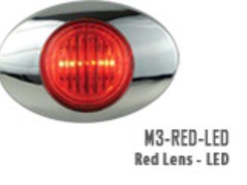 PANELITE MILLENNIUM SERIES M3 RED LED MARKER LIGHT 2 BRIGHT LEDs CHROME BEZEL