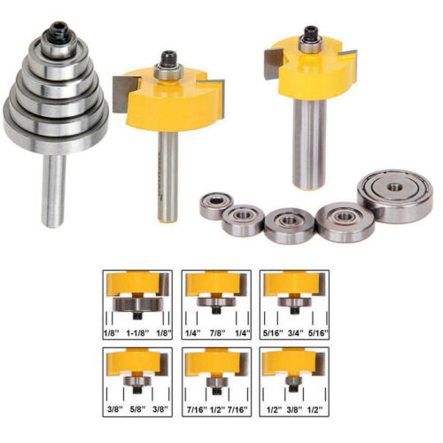1//2 1//4 Rabbet Router Bit 6 Adjustable Bearings Cemented Carbide Groove Cutter