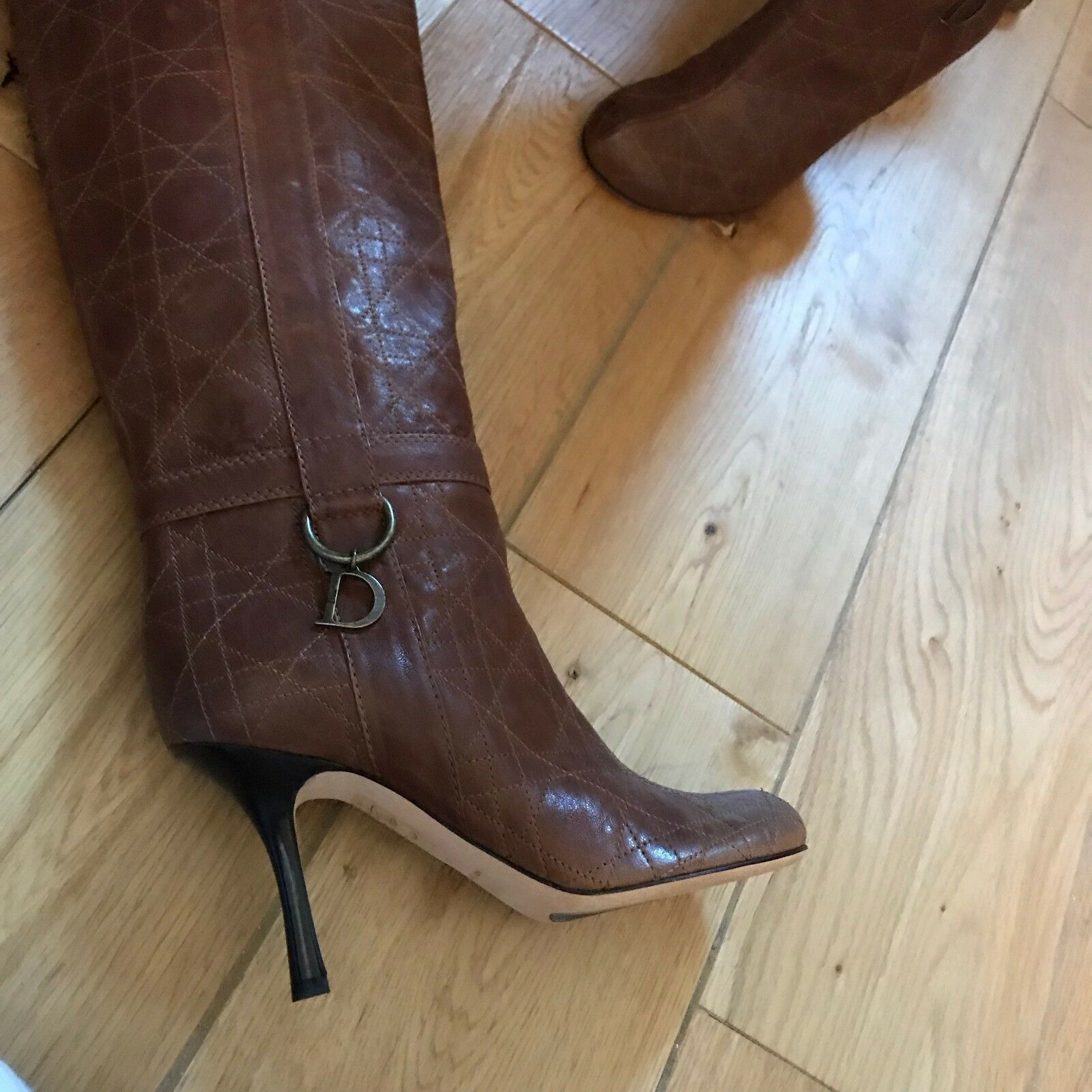 Dior brown knee boots size 35, high heels stitched leather with box