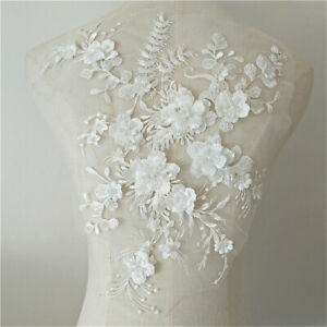 Wedding-Dress-3D-Fabric-Flowers-Pearl-Beads-Lace-Sew-on-Patch-Applique-DIY